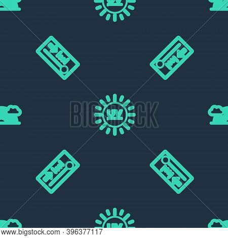 Set Line Uv Protection, Meteorology Thermometer And Rainbow With Clouds On Seamless Pattern. Vector