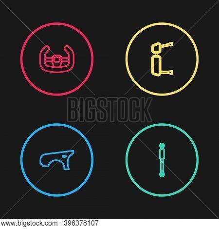 Set Line Car Fender, Shock Absorber, Truck Side Mirror And Sport Steering Wheel Icon. Vector