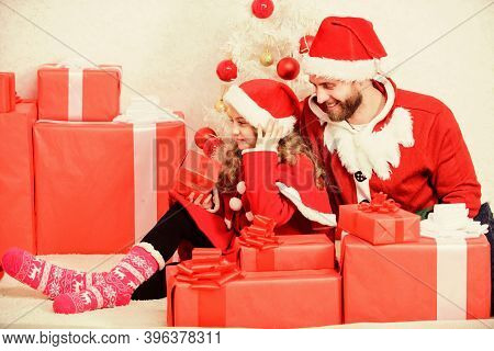 Christmas Family Holiday. Father Christmas Concept. Family Christmas Celebration Traditions. Dad In