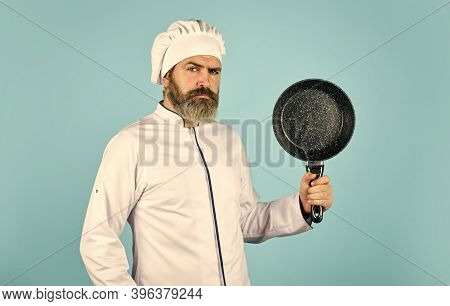 Cuisine Rich Vitamins. Preparing Food In Kitchen. Husband In Chef Hat On Kitchen. Cooking Food Conce