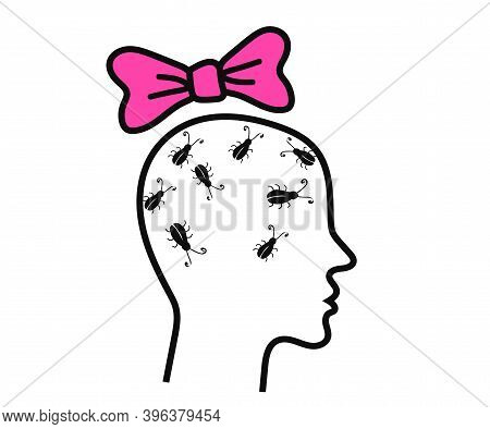 Cockroaches In The Human Head. Profile Of A Woman On A White Background. Vector Illustration.