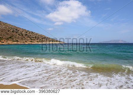 Agia Theodoti Beach On Ios Island. A Wonderful Beach With Azure Waters. Cyclades, Greece