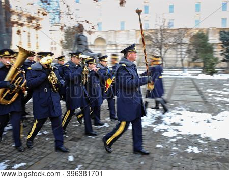Bucharest, Romania - December 22, 2010: Panning Image With A Military Band Marching.