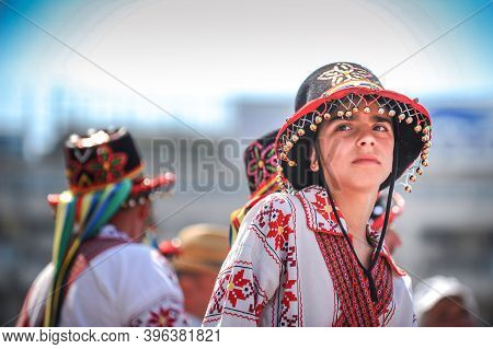 Bucharest, Romania - May 9, 2010: Portrait Of A Young Boy Dressed In A Traditional Costume Of The Ro