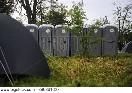 Bucharest, Romania - May 20, 2010: Plastic Portable Toilets On A Camping Site At A Music Festival