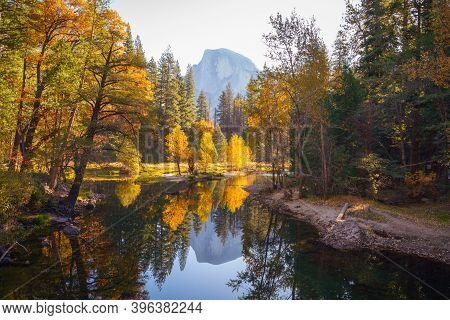 Yosemite Valley Merced River With Reflection Of Half-dome And Autumn Colored Trees, Yosemite Nationa