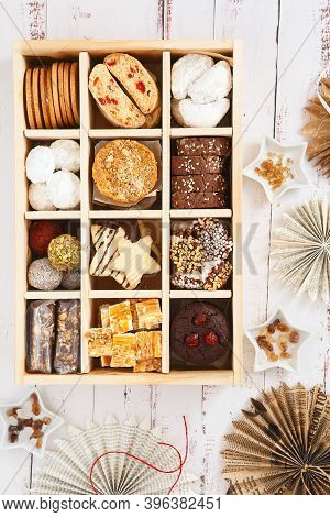 Christmas Shortbread Biscuits Cookies Assortment. Holiday Cookie Box. Assorted Christmas Homemade Co