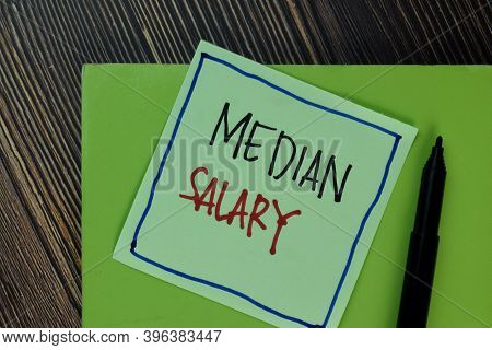 Median Salary Write On Sticky Notes Isolated On Wooden Table.