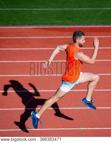 Best Cardio Ever. Muscular Man In Motion. Athletic Man Compete In Sprint. Sport Healthy Lifestyle. F