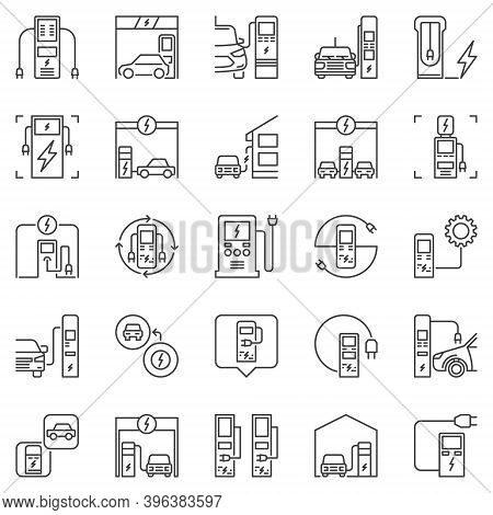 Electric Vehicle Charging Station Outline Concept Icons Set. Vector Charge Point And Electric Vehicl
