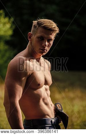 Sport And Fitness. Muscular Body. Handsome Shirtless Man Muscular Body. Strength And Power Concept.