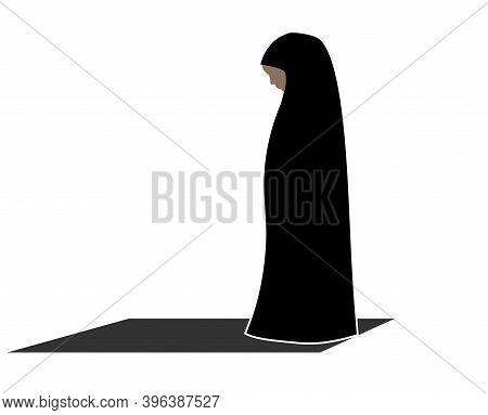 Muslim Woman Perform Prayer. Worship In Islam. Icon Logo. Template.