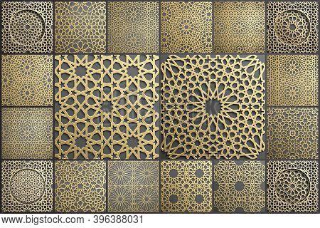 Gold Islamic Art 3d Pattern Set. Pattern Islamic Motif. Ramadan Kareem Vector. Design Ornament Ottom