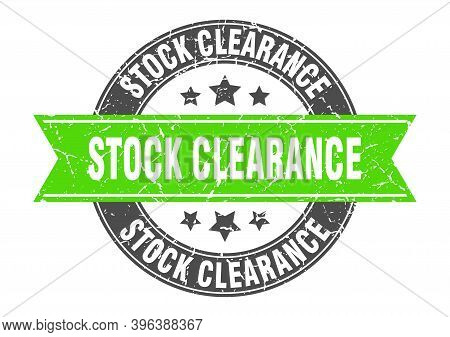 Stock Clearance Round Stamp With Ribbon. Label Sign