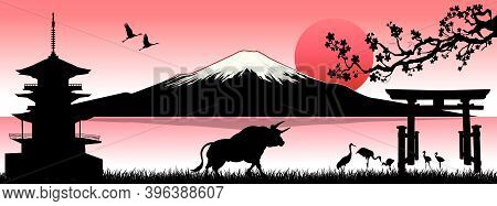Japanese Landscape With Mount Fuji And A Bull As A Symbol Of The New Year According To The Eastern C