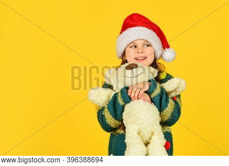 Simple Happiness. Happy Childhood. Toys Shop. Cute Plush Friend. Small Girl Hold Teddy Bear Toy. Chr