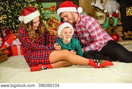 Idyllic Moment. Family Values. Spend Time With Family. Parents And Child Christmas Eve. Parenthood H