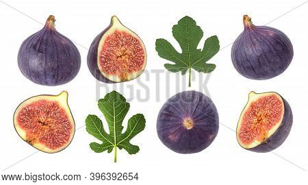 Set Of Whole And Sliced Figs With Leaves Isolated