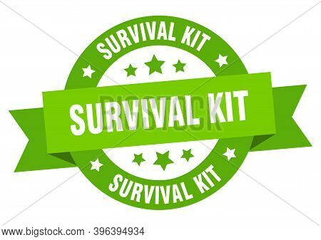 Survival Kit Round Ribbon Isolated Label. Survival Kit Sign