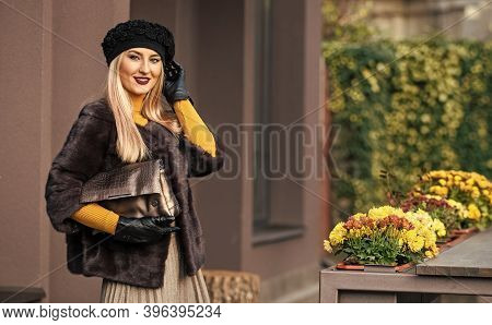 Elegant Woman Wear Fur Coat. Vogue Concept. French Style Outfit. Gorgeous Model. Beautiful Winter Ou