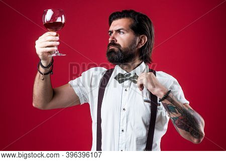 Good Looking. Alcoholic Drink. Stylish Sommelier Tasting Beverage. Old Fashioned Bearded Hipster Win