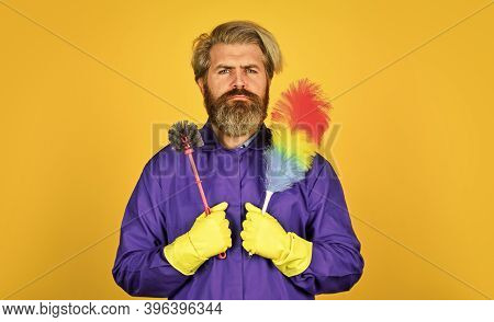 Cleaning Apartment. Man Use Pp Duster. Dust Allergy. Husband Cleaning Home. Polypropylene Duster. Hi