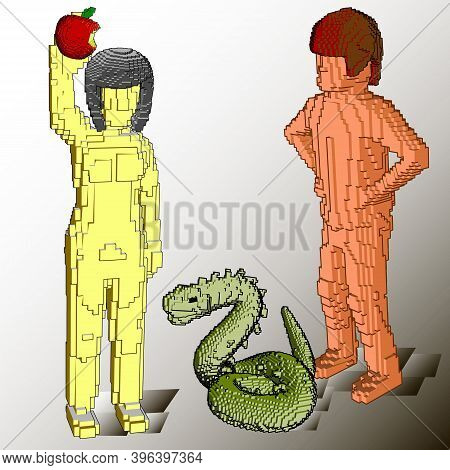 Adam Eve Apple Serpent Parable History Voxel Art Cubes Graphics