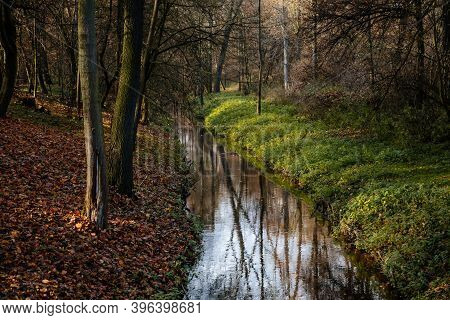 Water Canal In Castle Park In Sunny Autumn Day, Picturesque Stream In The Garden, Idyllic Landscape,
