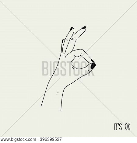Ok Or Excellence Gesture. Simple Linear Background With Hand Showing Okay Or Excellent. Contour Vect