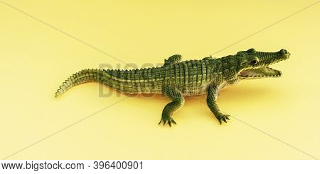 Childrens Rubber Toy Of Green Crocodile Alligator With Open Mouth On Yellow Background