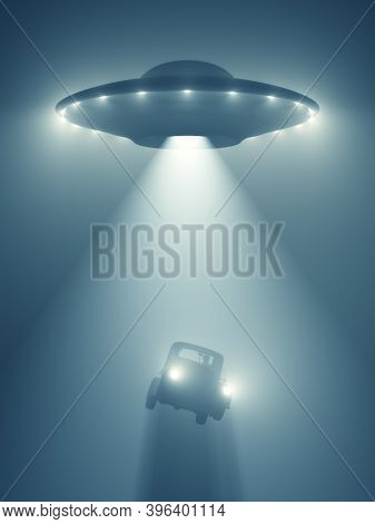 Unidentified Flying Object Flying At Night And Levitating A Car With The Tractor Beam. 3d Illustrati