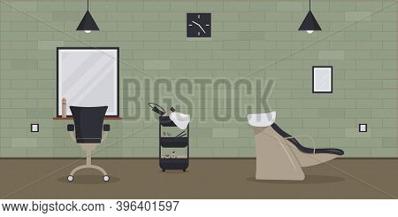 The Interior Of The Beauty Salon In The Loft Style.an Empty, Cozy Barbershop With A Brick Wall, Mirr