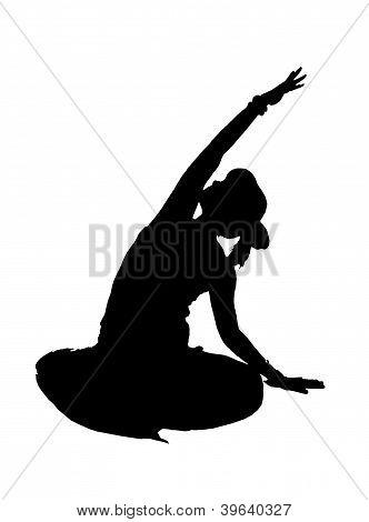 Silhouette yoga girl