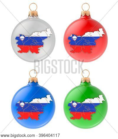 Christmas Balls With Slovenian Map, 3d Rendering Isolated On White Background