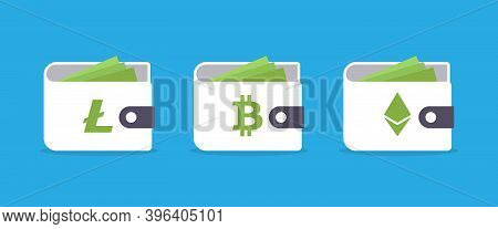 Bitcoin Ethereum Litecoin Cryptocurrency Wallets Isolated On Blue Background. Vector Illustration Ep
