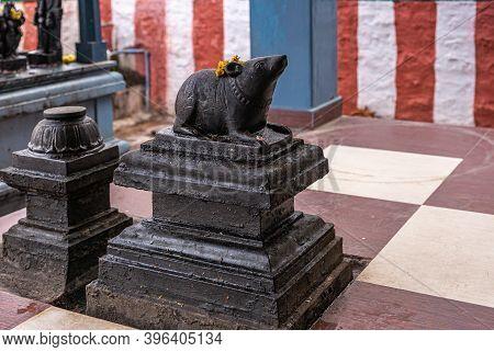 Kadirampura, Karnataka, India - November 4, 2013: Sri Murugan Temple. Closeup Of Black Statue Of Dev
