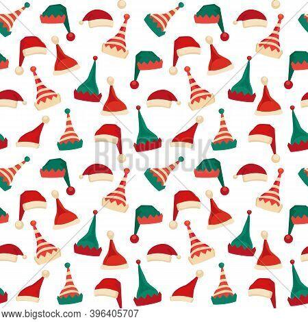 Santa Claus Helper Elf Hat Icon Vector Set Seamless Pattern. Santa Red Hat Christmas Elves Cap Sign