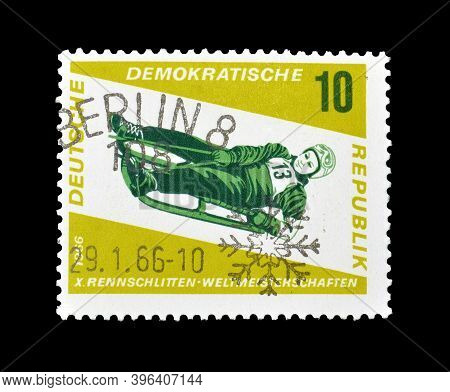 East Germany - Circa 1966 : Cancelled Postage Stamp Printed By East Germany, That Shows Luge, Circa