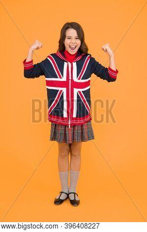 Learn English Language. British Accent. Great Britain Flag. International Exchange. Girl School Unif