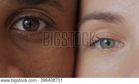 Black Man And White Womans Eyes.interracial Race Love Concept. Anti-racism.