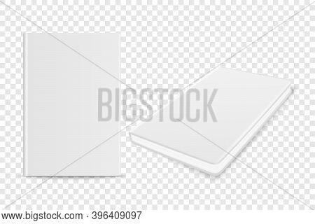 Vector 3d Realistic White Closed Blank Paper Notebook Set Isolated On Transparent Background. Design