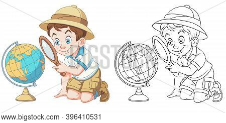 Coloring Page With Boy Studying Earth Globe. Line Art Drawing For Kids Activity Coloring Book. Color