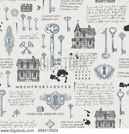 Abstract Seamless Pattern With Vintage Hand-drawn Keys, Keyholes And Old Houses In Retro Style. Vect