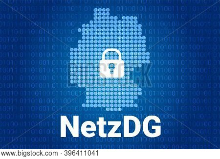 Network Enforcement Act. Netzdg In Germany. Blue Map Of Germany On A Blue Background With A Binary C