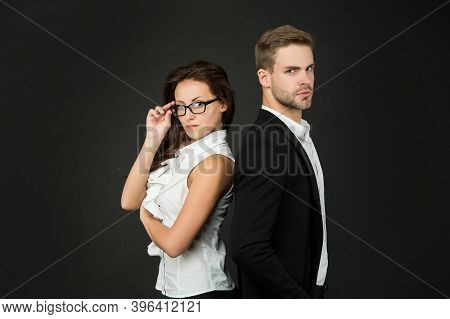 Entrepreneurship Activities For Individuals. Business Couple Dark Background. Sexy Woman And Handsom