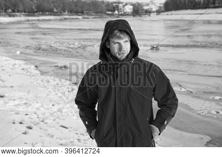 Polar Explorer. Sunny Winter Day. Winter Menswear. Winter Outfit. Comfortable Outfit. Guy Jacket Hoo