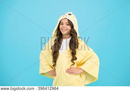 Weekend Time. Kid With Long Hair Wear Plush Pajamas. Adorable Pajamas. Little Girl Small Child Weari