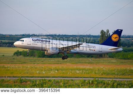 BUDAPEST, HUNGARY - CIRCA 2017: Lufthansa A320 landing at Budapest Liszt Ferenc. Lufthansa is the largest airline of Europe