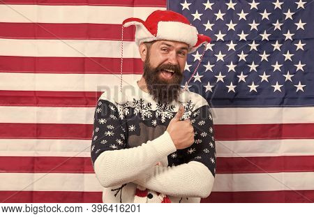 American Customs. Brutal Man Wear Knitted Sweater. American Tradition. Bearded Hipster American Flag