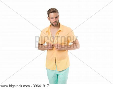 Handsome Macho Fashion Model. Sexy Macho Shopping Clothes. Hot Day. Heat Season. Modern Fashion. Dre